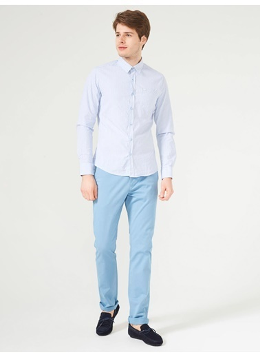Xint Çizgili Uzun Kollu Gömlek Mavi